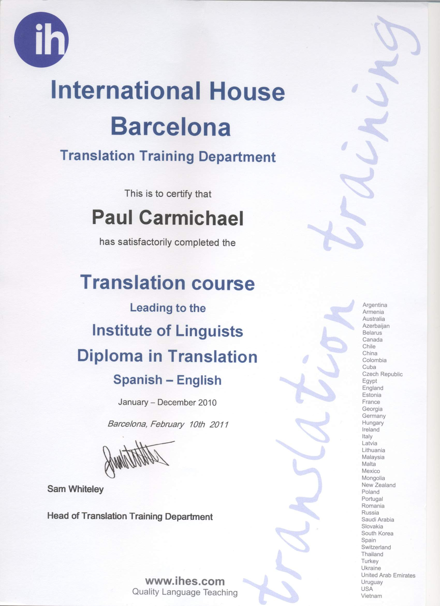 cv joined various professional associations published book of parallel texts added sdl trados certification and i continue doing mostly it translations